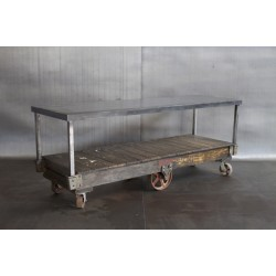 VINTAGE CART W/ RECLAIMED STEEL TOP