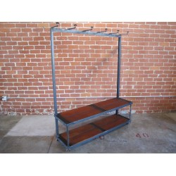 JASON WEIN SCHOOL HOUSE RACK WITH DARK BLEACHER WOOD BENCH AND BOTTOM SHELF