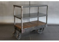 STEEL SHELF W/ VINTAGE CART - SHORT