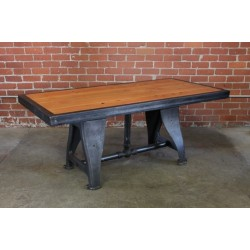 RECLAIMED WOOD TABLE W/ VINTAGE CAST LEGS