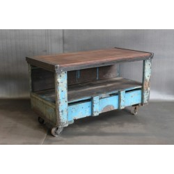 FACTORY CART W/ RECLAIMED WOOD TOP