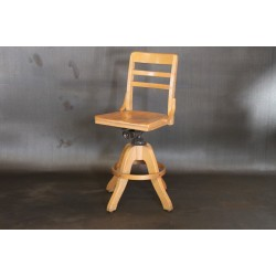 VINTAGE WOODEN STOOL W/ BACK