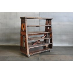 RECLAIMED BLEACHER WOOD A-FRAME SHELF