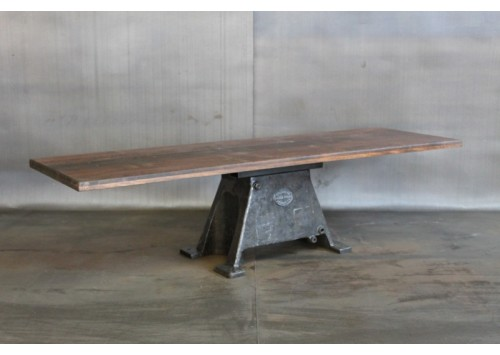 RECLAIMED WOOD TABLE W/ VINTAGE BASE