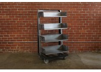 A FRAME SHELVES ON CASTERS