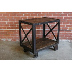 RECLAIMED WOOD AND STEEL CART
