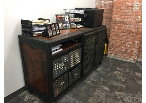 JASON WEIN OFFICE CONSOLE W/ PERFORATED DRAWERS
