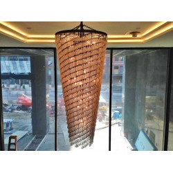 LARGE  CRYSTAL CHANDELIER INSTALLATION AT THE NINE HOTEL DOWNTOWN CLEVELAND
