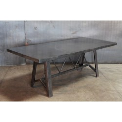 STEEL TABLE WITH TRUSS STRETCHER